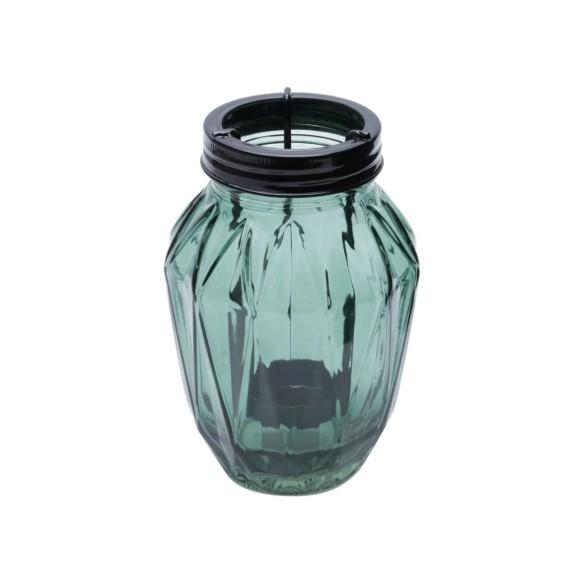 Conjunto de castiçal decorativo em vidro cinza - urban