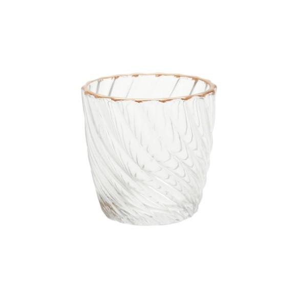 Conjunto de castiçal decorativo em vidro colar