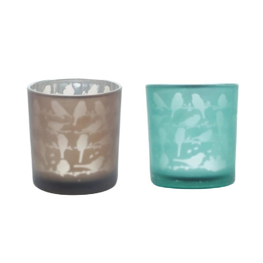 Conjunto de 2 Castiçais Decorativo em Vidro Cinza e Verde - Little Birds