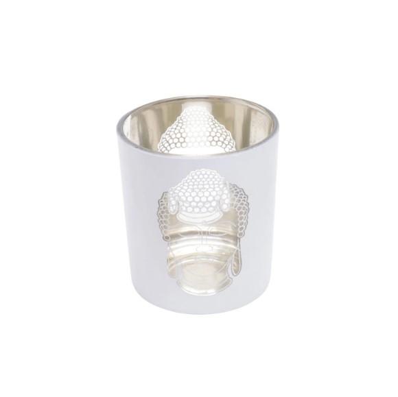 Conjunto com 2 castiçais decorativos em vidro buddah