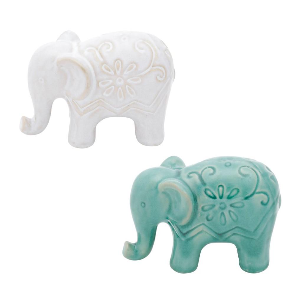 Conjunto de objetos decorativos 2 elefantes em cerâmica flowers