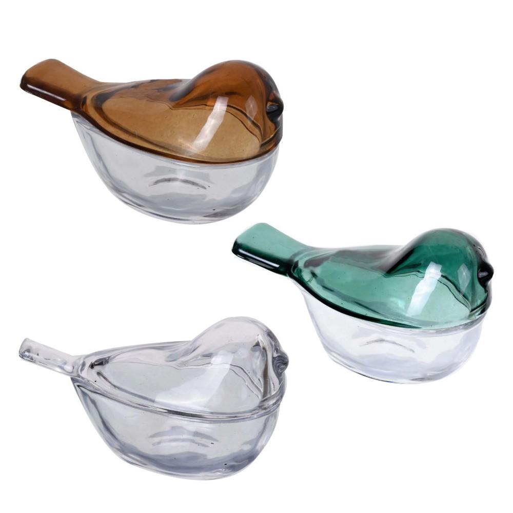 Conjunto de 3 Objetos Decorativos Porta Jóias Pássaro em Vidro