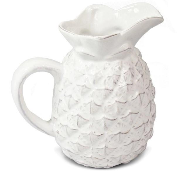 Conjunto de objetos decorativos tema abacaxi branco