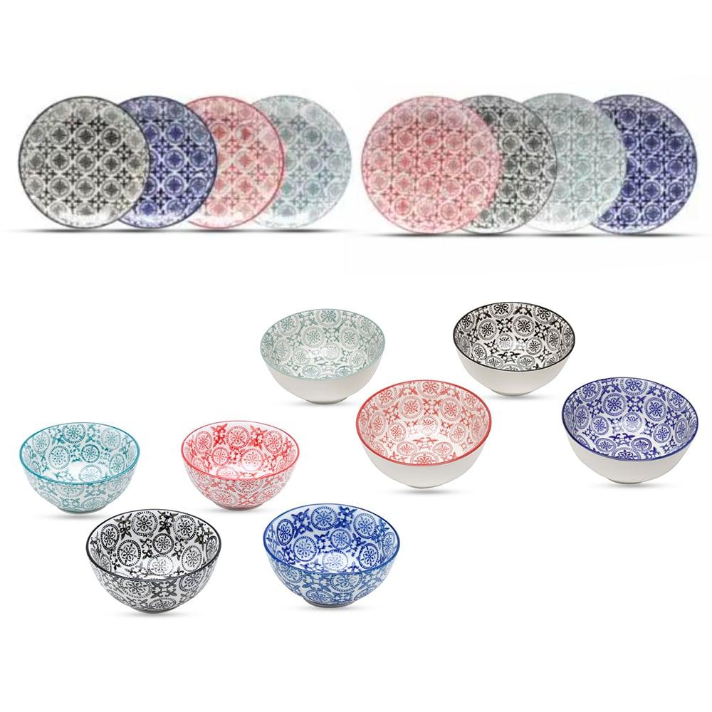 Conjunto de Sobremesa 8 Bowls + 8 Pratos em Porcelana Colorido