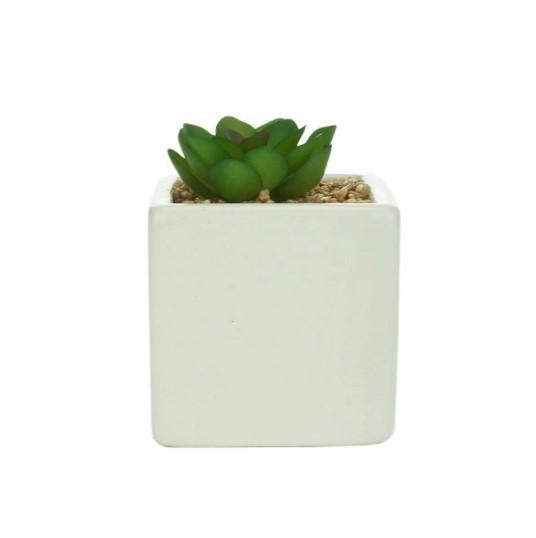 Conjunto de 2 Vasos Cachepots Decorativos com Planta Artificial em Cerâmica