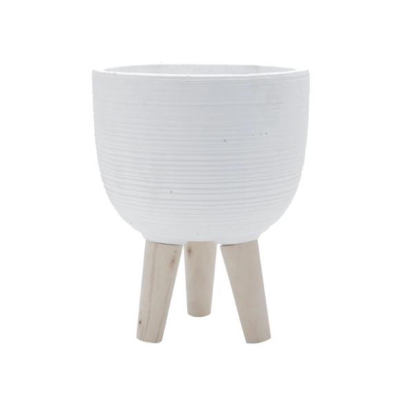 Conjunto de 2 Vasos Decorativos em Concreto com Pé de Madeira Suculentas e Plantas