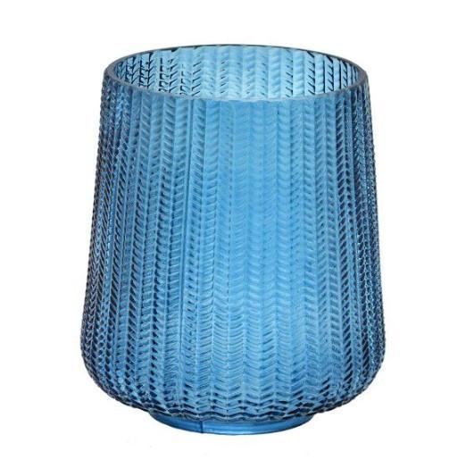 Conjunto de 2 vasos decorativos em vidro cor azul escamas