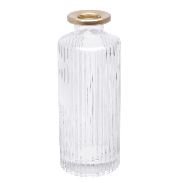 Conjunto de vaso decorativo em vidro gold collar transparente e dourado