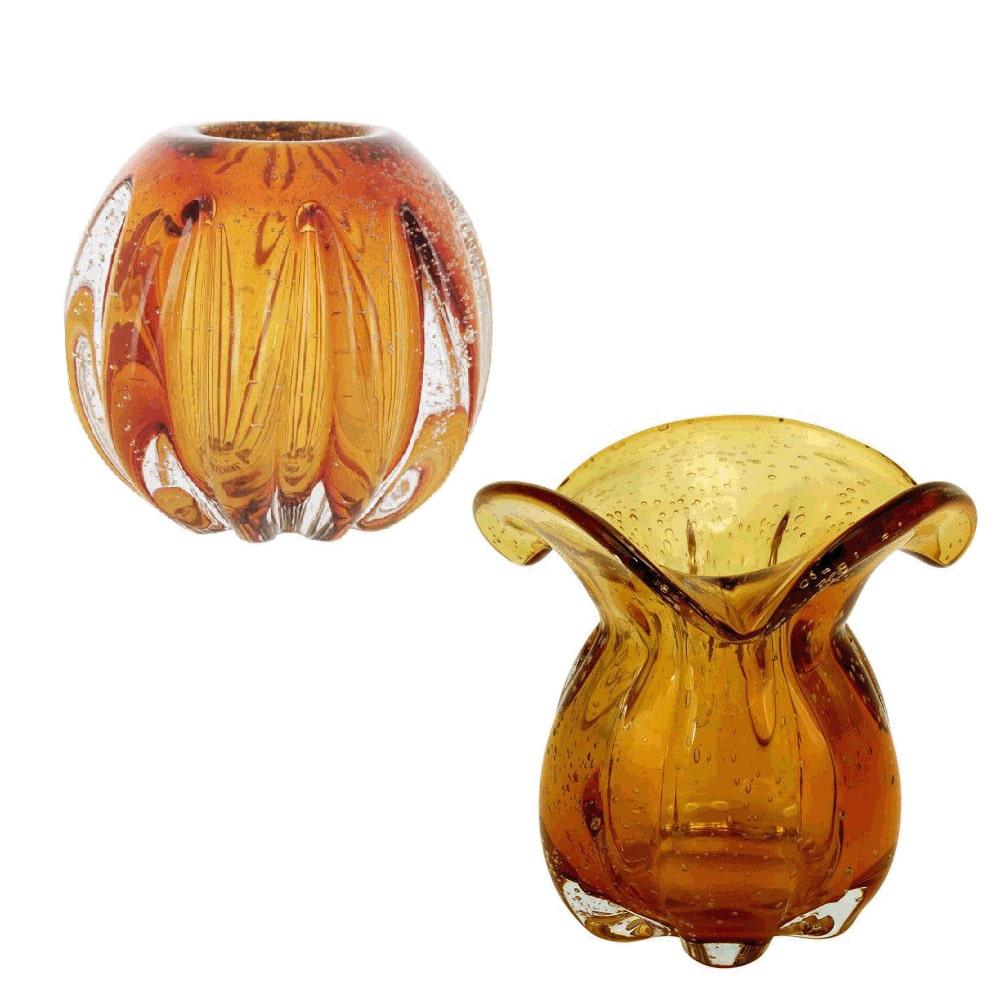 Conjunto de Vasos Muranos Âmbar