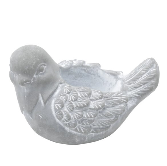 Conjunto de 2 vasos decorativos pássaros em concreto cor cinza
