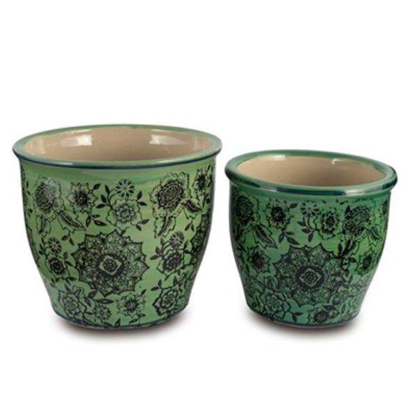 Conjunto de Vasos em Cerâmica Verde e Preto Decoração Moderna Casa/Jardim