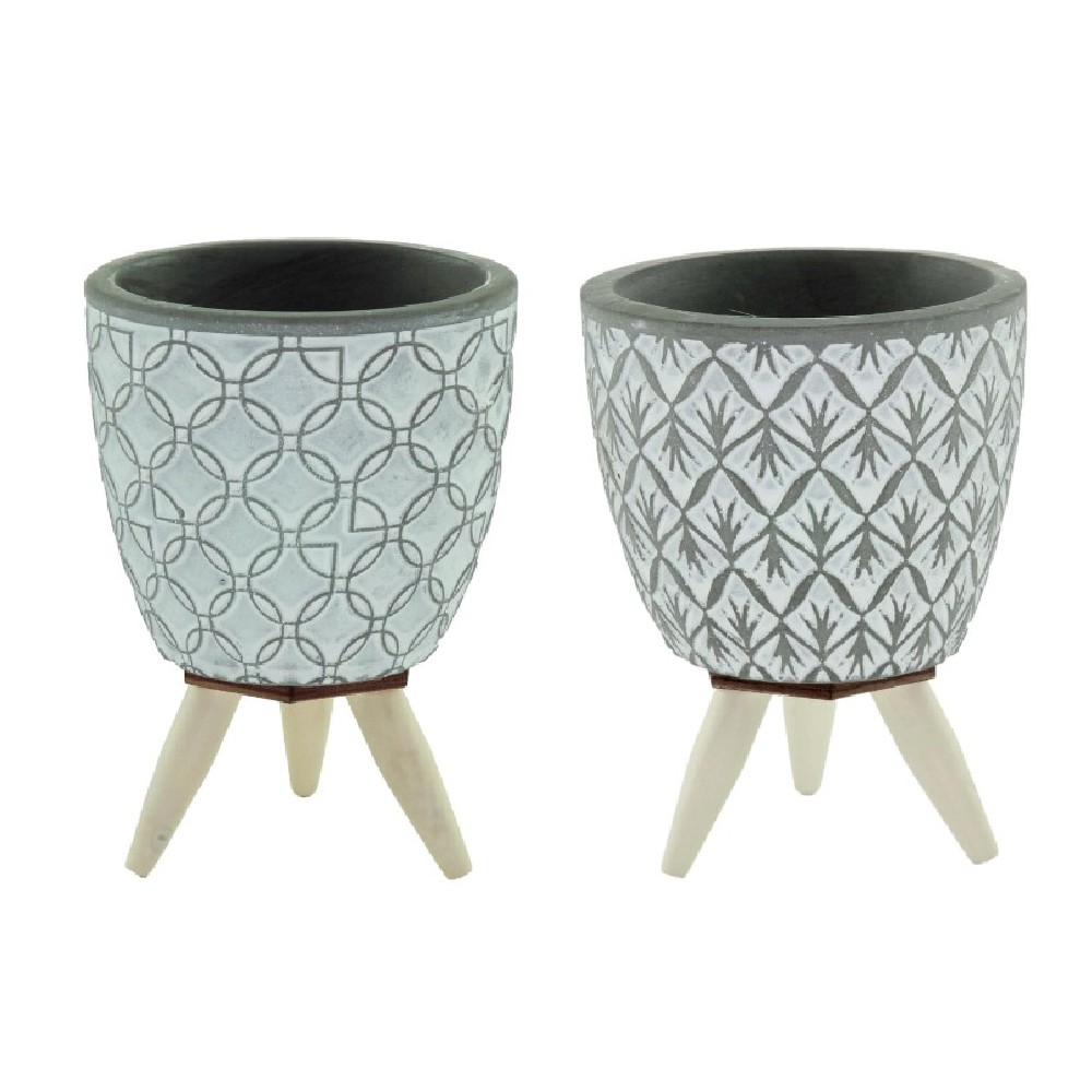 Conjunto 2 mini cachepots em concreto cinza com pés