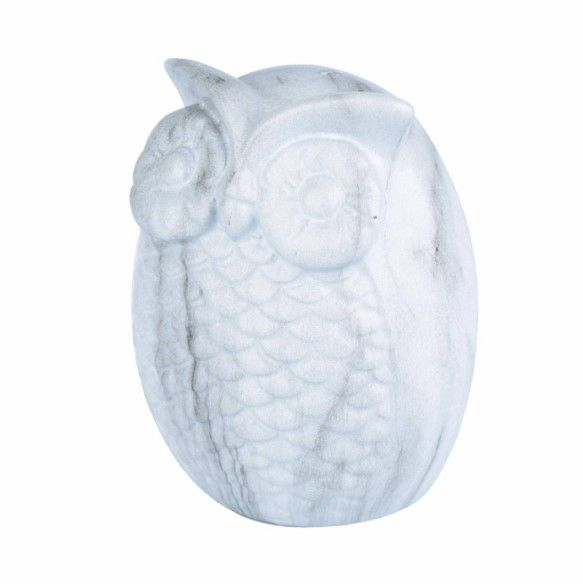 Coruja Decorativa Em Cerâmica Branca Marble Urban