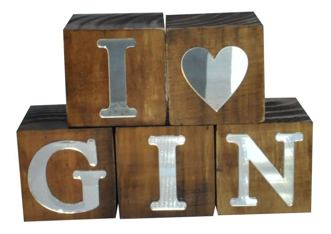 Cubos Letras I (coração) Gin Espelhado Pinus Luxo