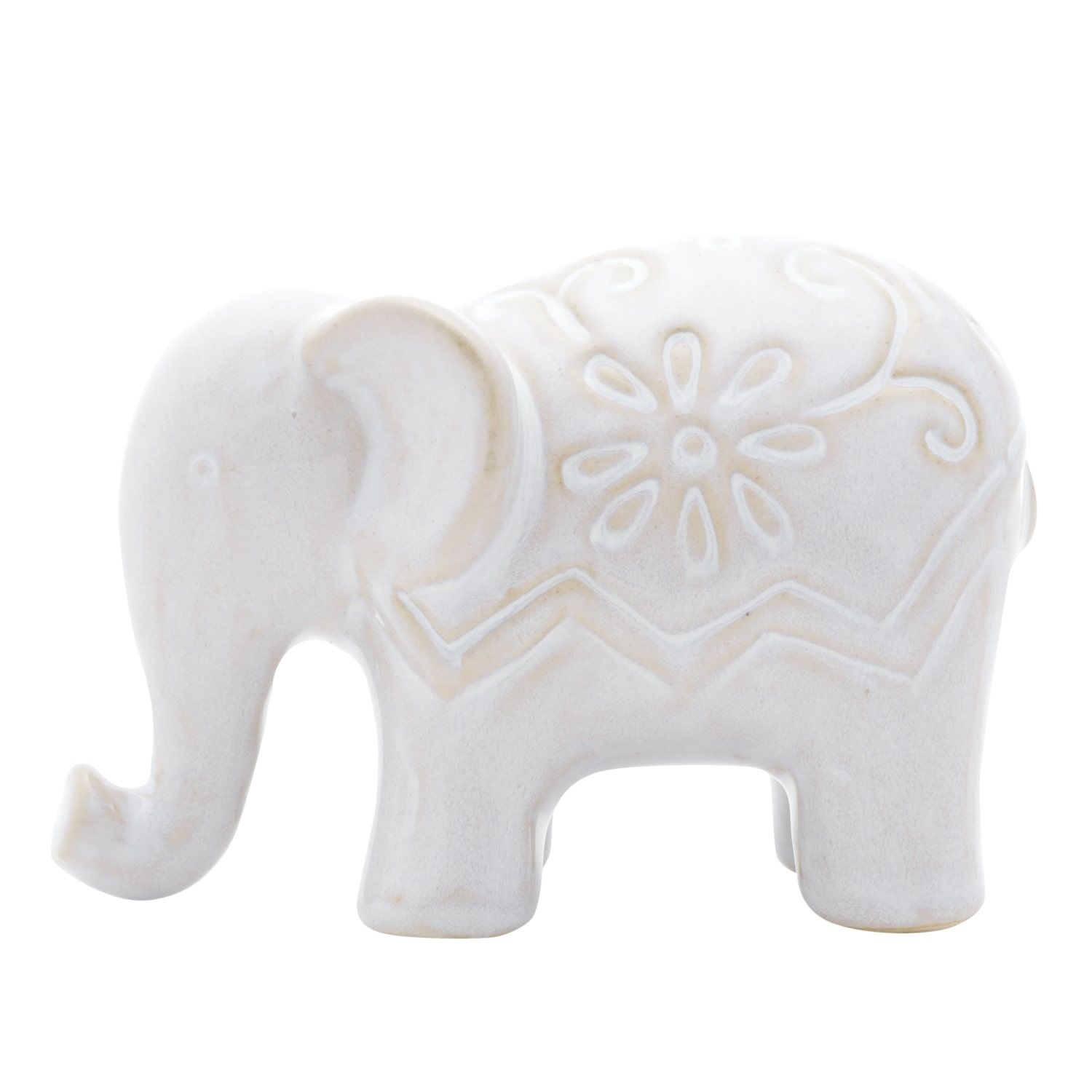 DECOR CERAMICA ELEPHANT DECORATED FLOWERS BRANCO 11,5X6,3X7,8 cm