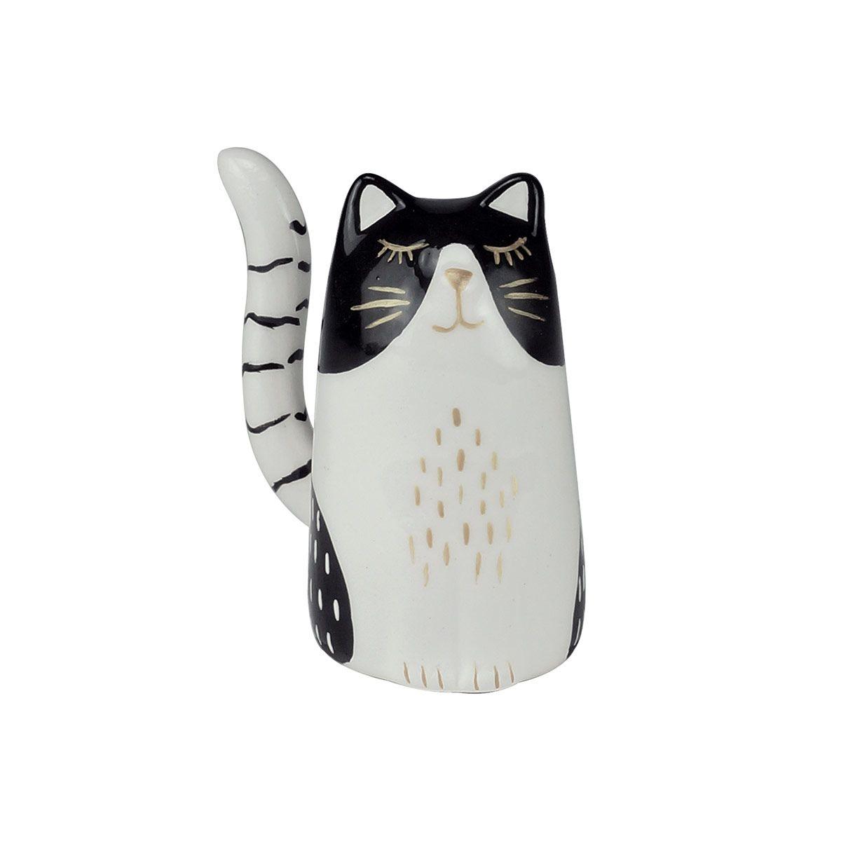 Mini Gato em Cerâmica Preto e Branco 5 x 3,8 x 6,3 cm