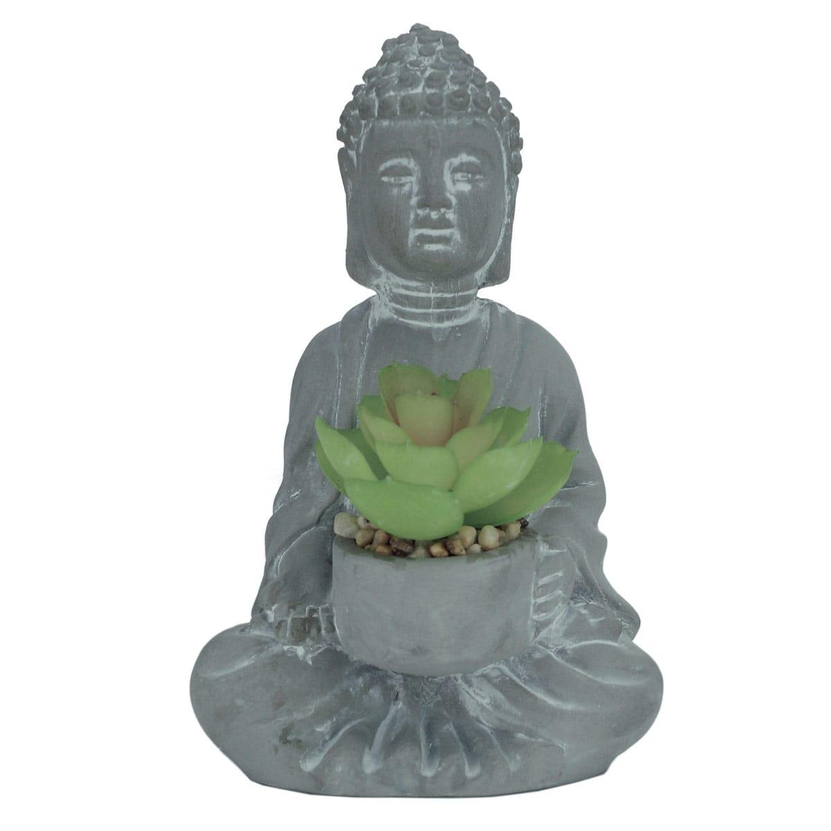 DECOR CONCRETO BUDDAH FLOWER CINZA COM PLANTA 10x9x16cm
