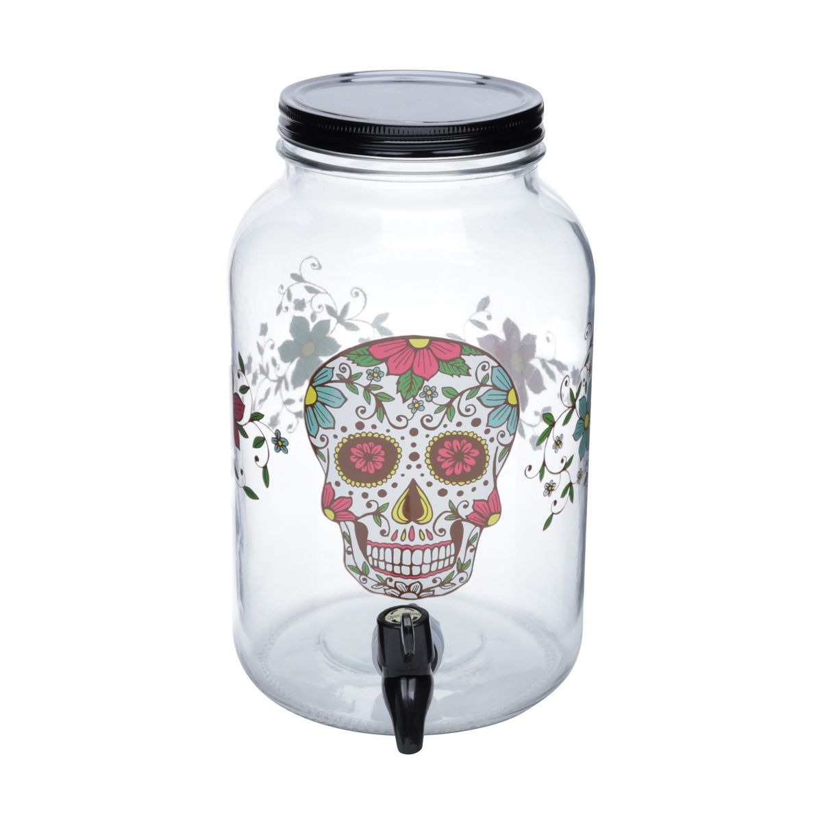 SUQUEIRA DE VIDRO - SIMPLE GLASS SKULL PRETO 15X25,5X15CM 3.5L