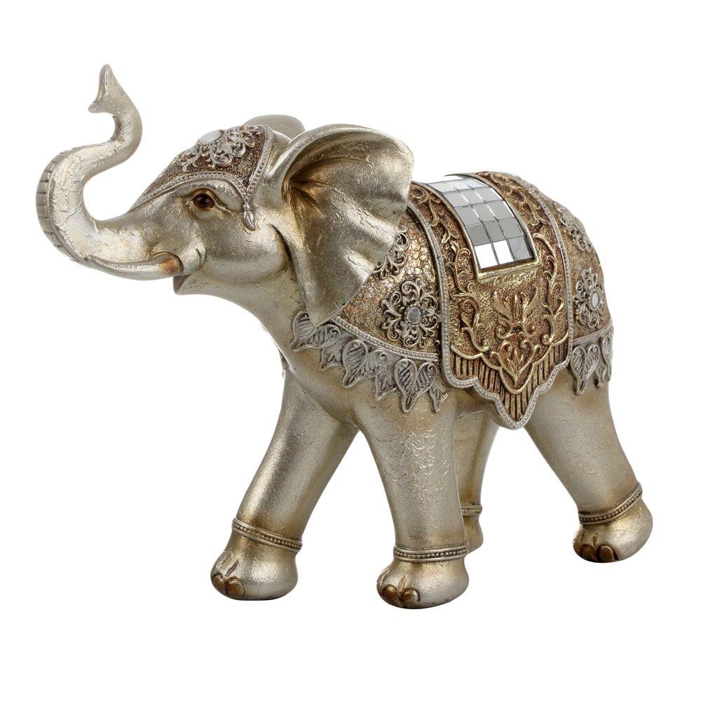 Elefante Decorativo Bege e Dourado Decoração de Ambientes