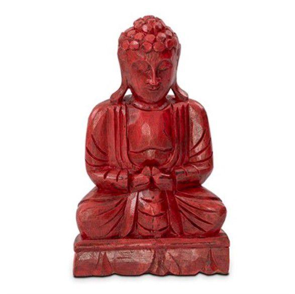 Escultura Buda Hindu Namastê Tailandês Tibetano Sidarta em Madeira Vermelha
