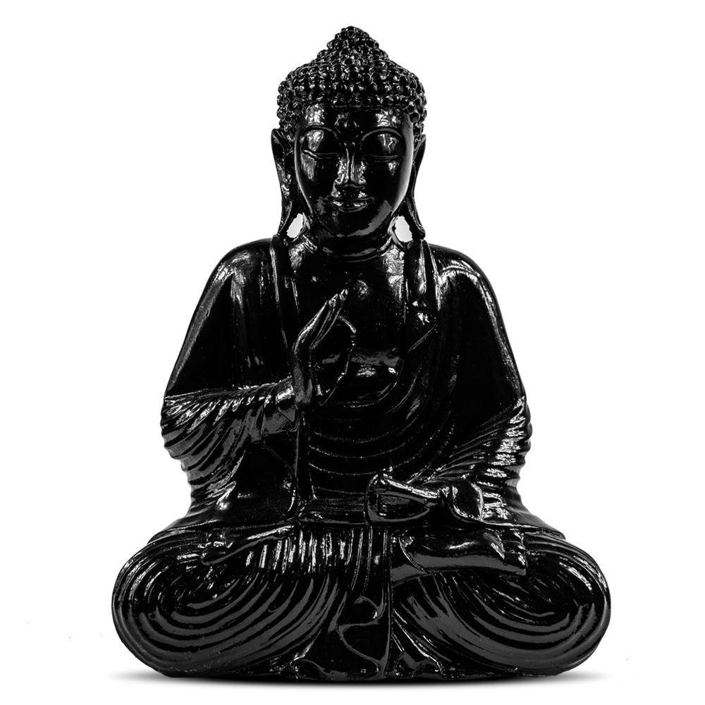 Escultura Buda Hindu Namastê Tailandês Tibetano Sidarta em Resina Preto
