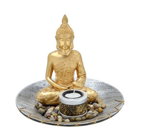 Escultura Buda Com Castiçal Zen 20cm Espressione