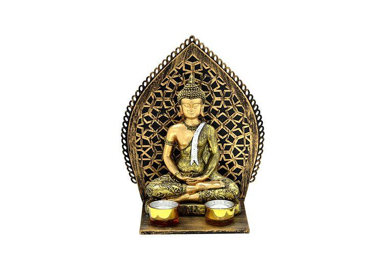 Escultura Buda Altar e Castiçal Hindu Namastê Tibetano Sidarta