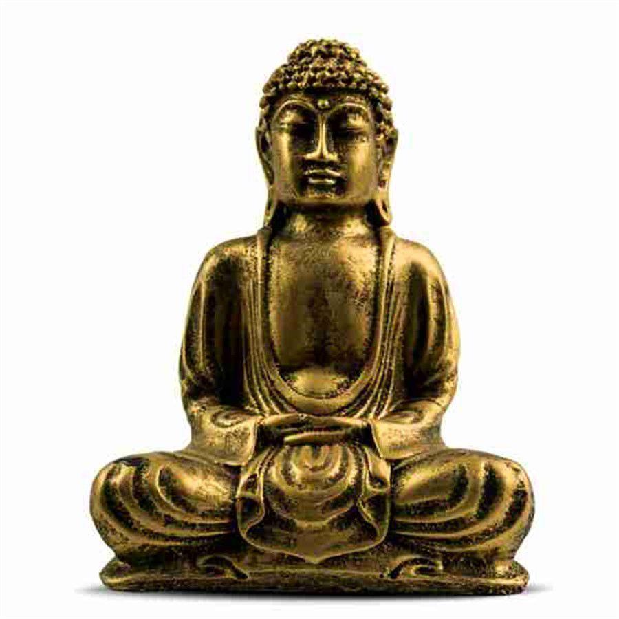 Escultura Buda Hindu Namastê Tailandês Tibetano Sidarta em Resina Dourado