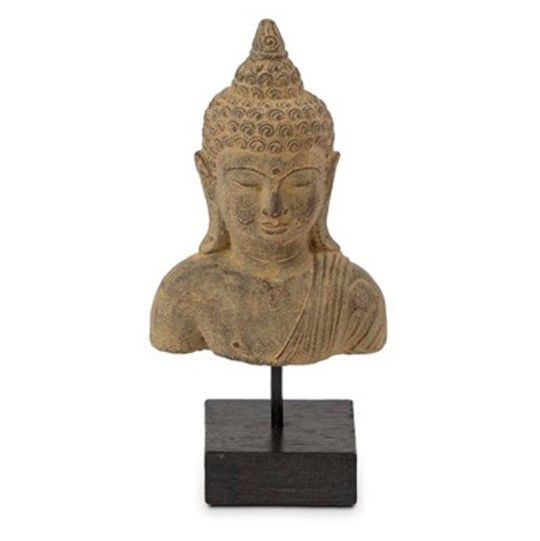 Escultura de Buda Hindu Namastê Tibetano Sidarta em Cimento 12x9x25cm
