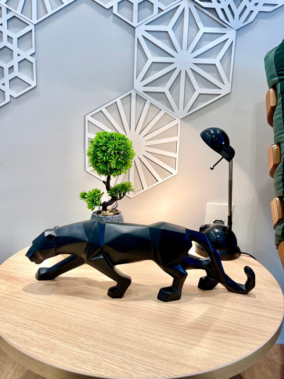 Escultura Leopardo Pantera Negra Estatua Decoração