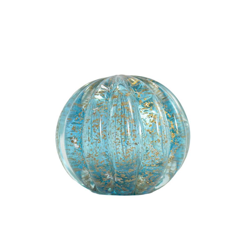 Esfera Murano Azul com Dourado - 8 x 8 cm