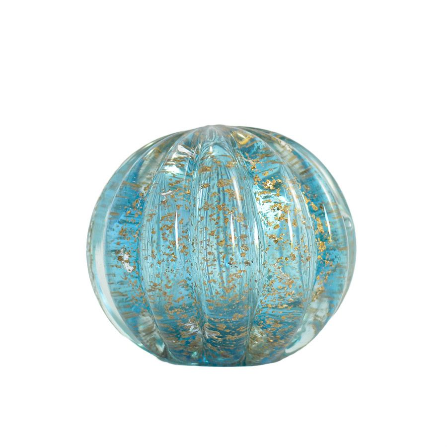 Esfera Murano Azul com Dourado -  10 x 10 cm
