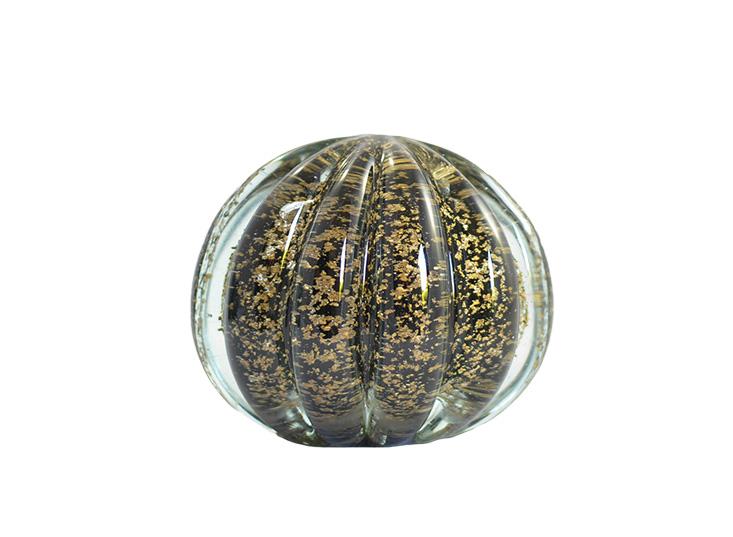 Esfera Murano Preta com Dourado  10 x 10 cm