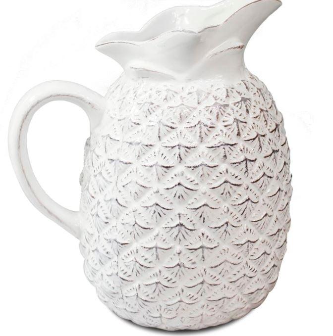 Jarra De Abacaxi em Cerâmica Branca 17,5 X 19 cm