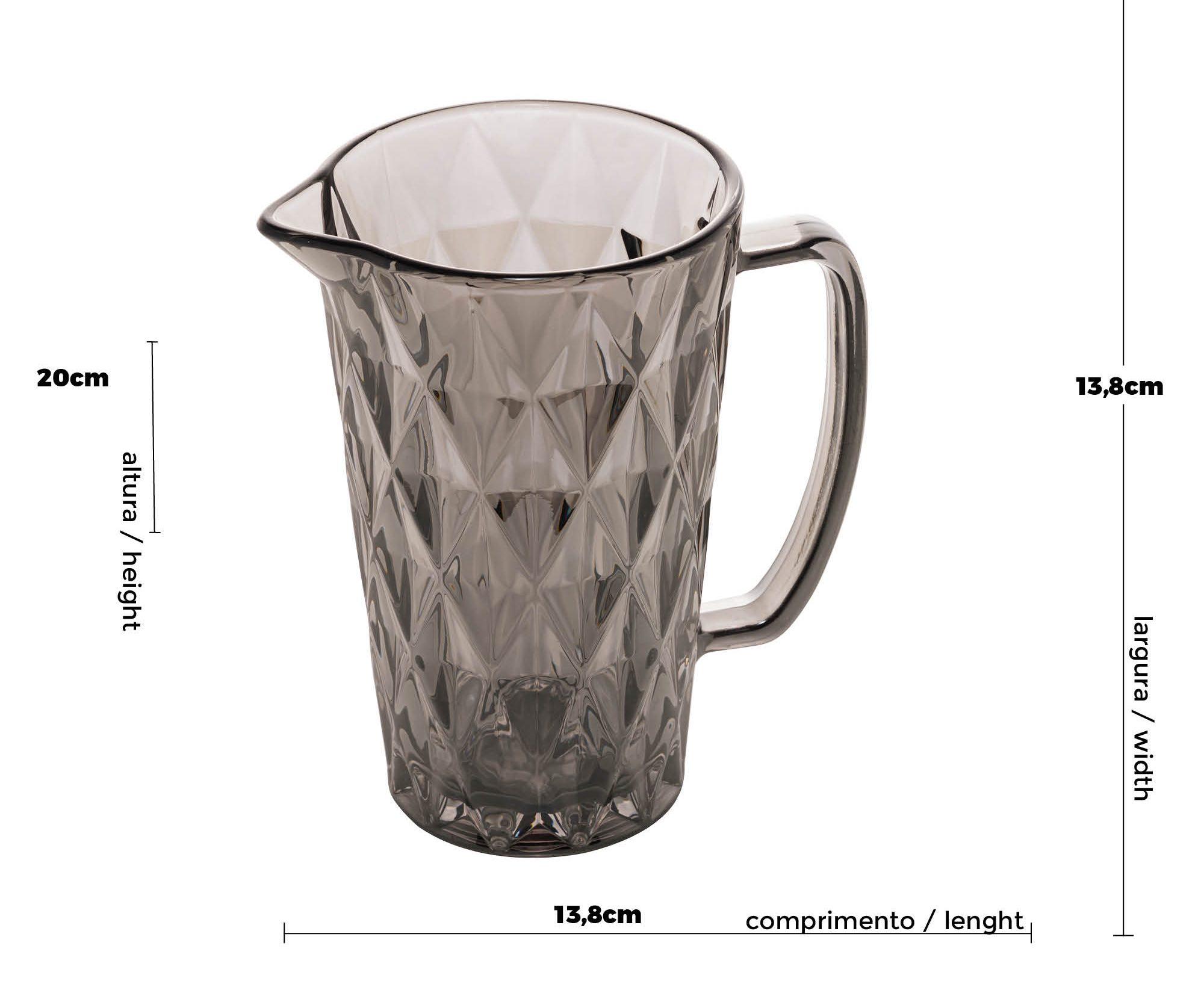 Jarra de Vidro Diamond Cinza Metalizado 1 L