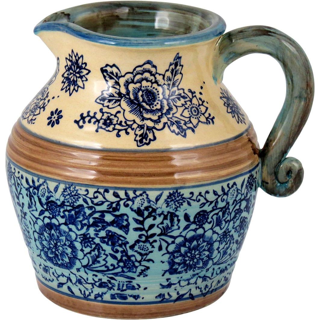 Jarra em Cerâmica Estampado em Azul e Bege Grande