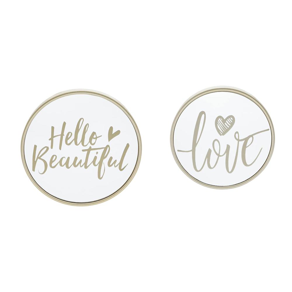 Jogo 2 Espelhos Moldura Plástico Hello Love Dourado 17,7 x 3 x 17,7 cm