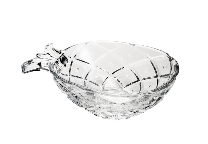 Jogo 6 bowls para sobremesa de cristal transparente Pineapple  Abacaxi 12 x 8,5 x 4 cm