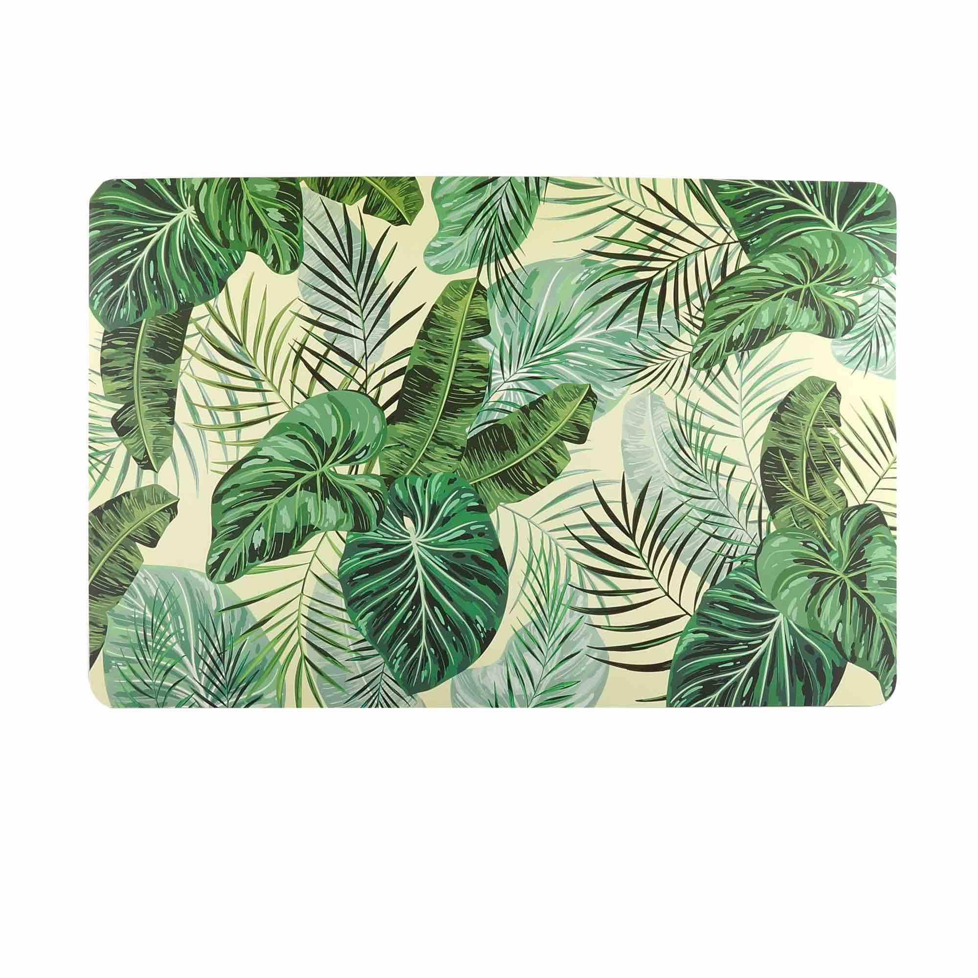 Jogo Americano de plástico Banana Leaf com 4 Peças - 43,5x28,5cm