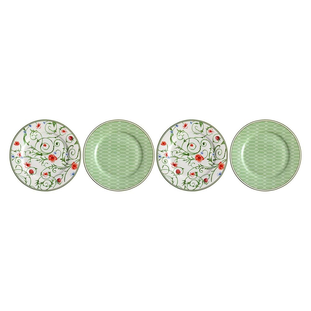 Jogo com 4 Pratos de Sobremesa  Verde e Branco