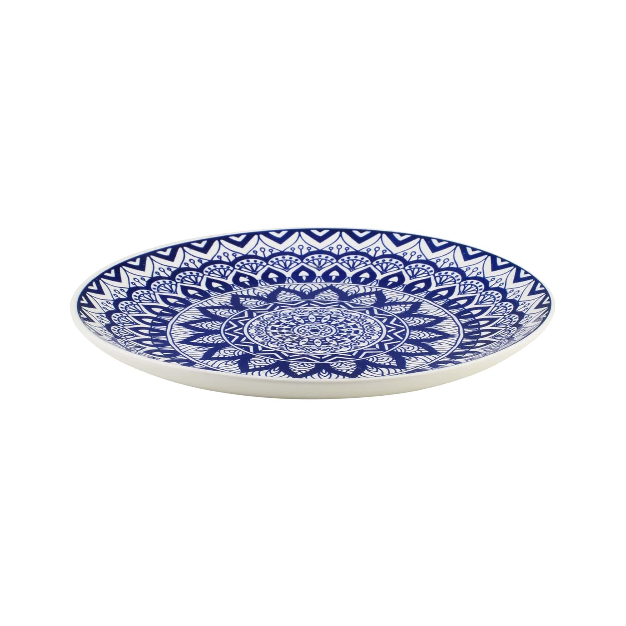 Jogo com 4 Pratos Mesa em Cerâmica Mandala Azul e Branco 26 cm