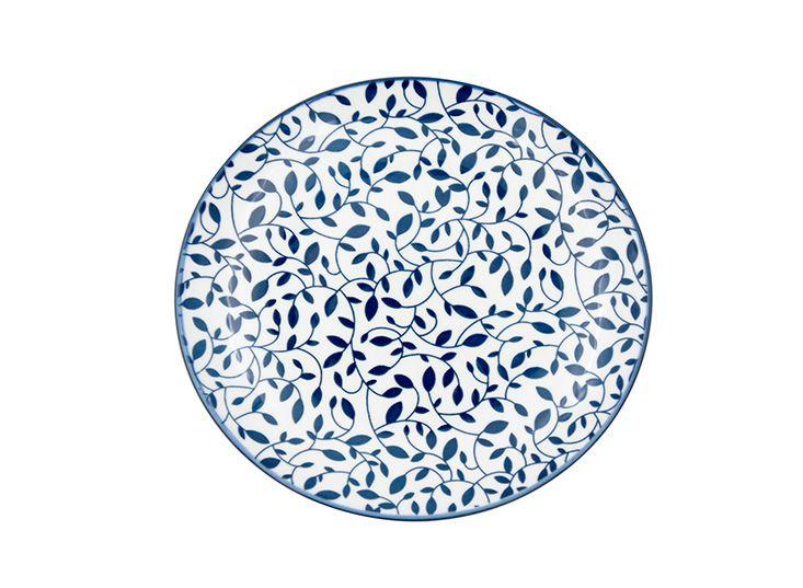 Jogo com 4 Pratos Sobremesa em Porcelana Decor Floral Azul e Branco
