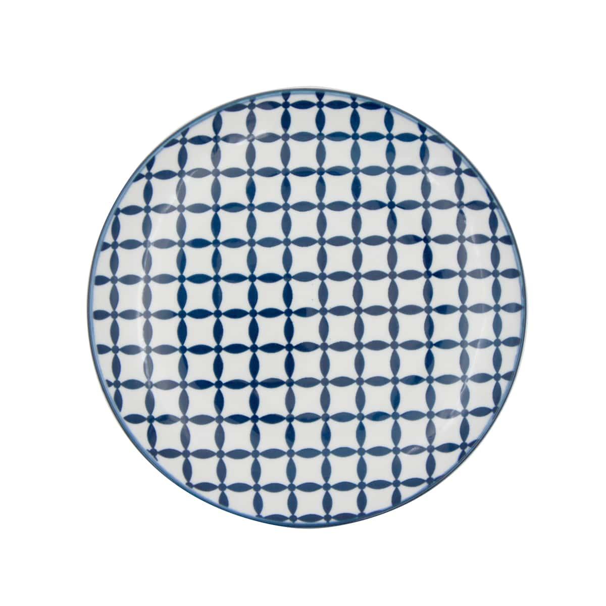 Jogo com 4 Pratos Sobremesa em Porcelana Geometric Star Azul e Branco
