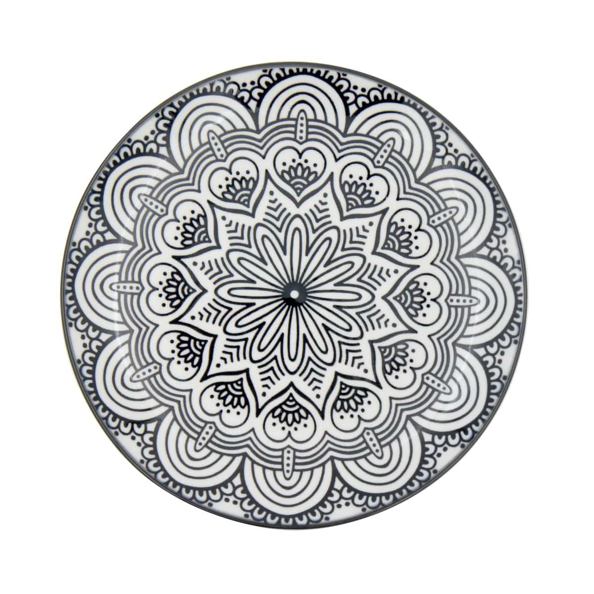 Jogo com 4 Pratos Sobremesa em Porcelana Mandala Preto e Branco