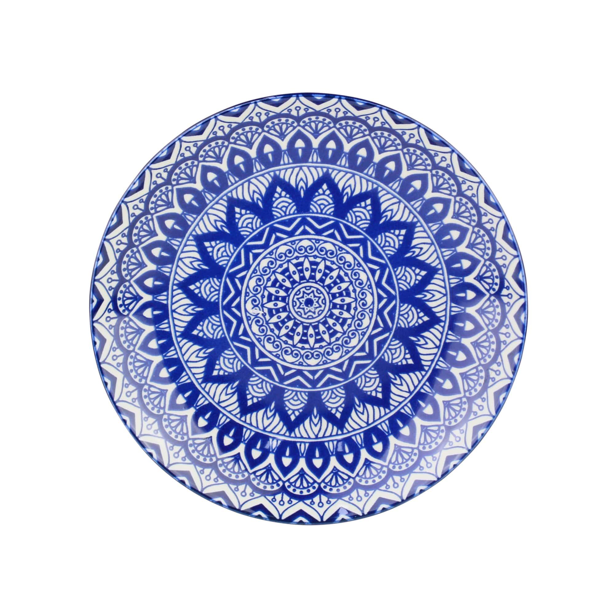 Jogo com 4 Pratos Sobremesa em Cerâmica Mandala Azul e Branco 19 cm