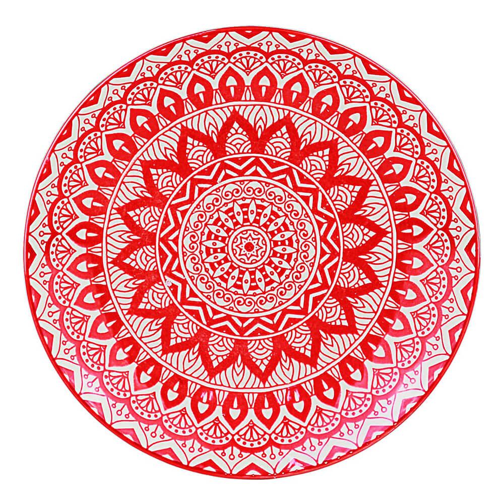 Jogo com 4 Pratos Sobremesa em Cerâmica Mandala Vermelho e Branco 19 cm