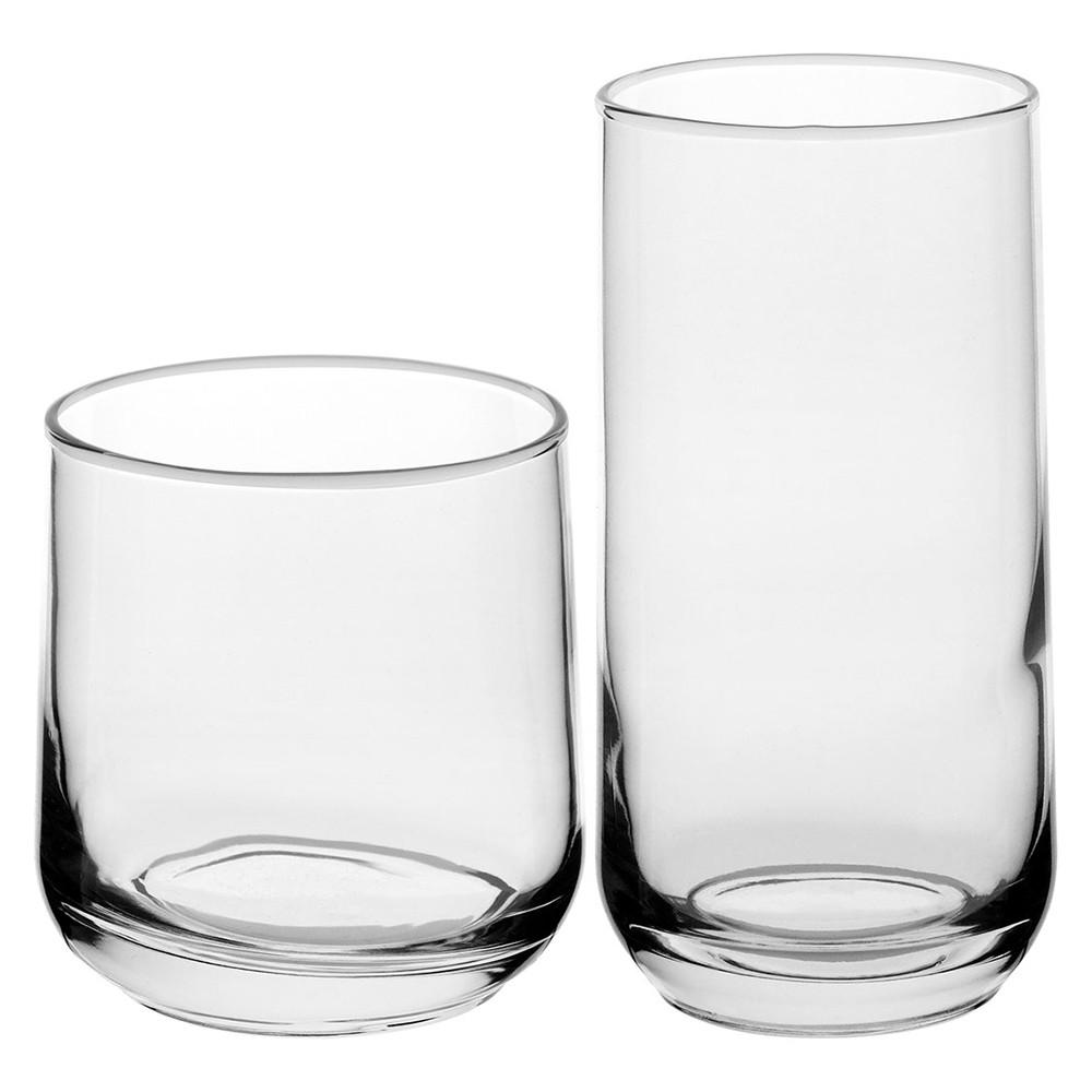 Jogo de Copos em Vidro 8 Peças Transparente com 2 modelos 380 e 470 ml