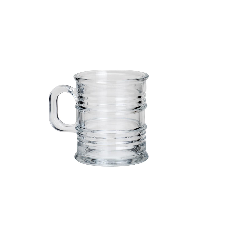 Jogo de copos em vidro com alça Vintage 6 peças 245ml transparente