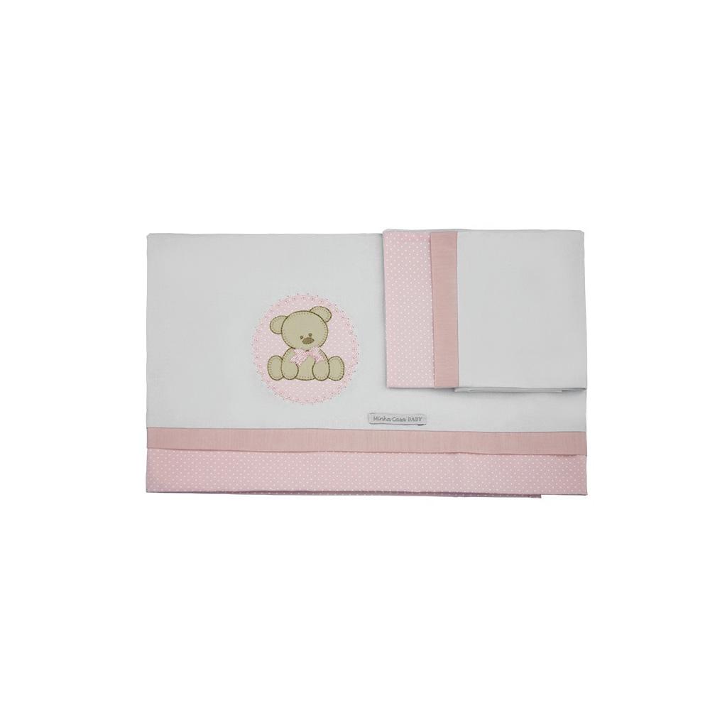 Jogo de Lençol de Berço 100% Malha com 3 Peças Estampa Urso Rosa