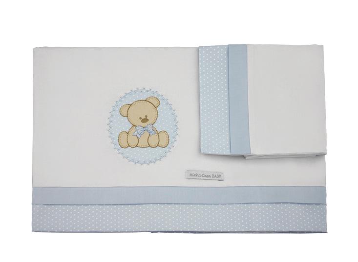 Jogo de Lençol de Berço 100 % Malha com 3 Peças Estampa Urso Azul